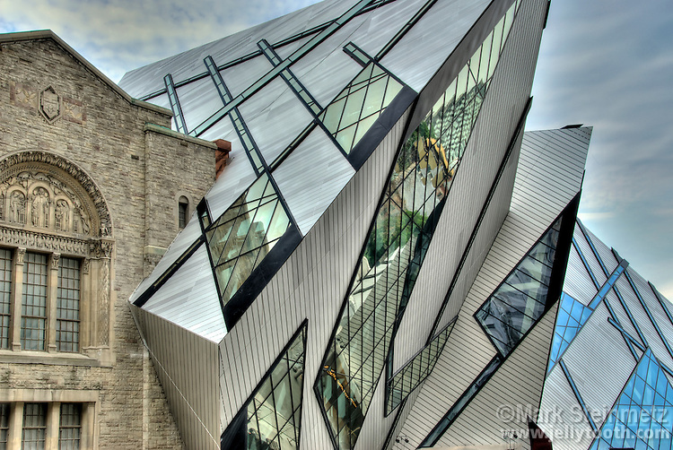 Low-angle view of the The Crystal addition to the Royal Ontario Museum, Toronto, Canada