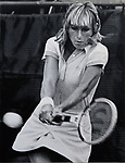 Chris Evert (the eventual womens winner) competing in the US Open Tennis Championship at Flushing Meadows, NY between August 26 and September 7. 1980.  Photo by Jim Peppler/copyright Newsday1980. All Rights Reserved.