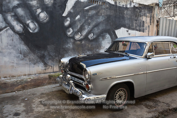 TH0077-D. A vintage American car in Old Havana (Habana Vieja in Spanish). Havana, Cuba.<br /> Photo Copyright &copy; Brandon Cole. All rights reserved worldwide.  www.brandoncole.com