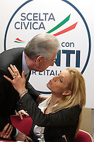 Mario Monti e Annalisa Minetti.Roma 15/02/2013 Presentazione del programma per lo sport della Scelta Civica Monti per l'Italia..The italian premier presents his program for sport for the next elections 2013 and candidate two of the best athlets in the world at the past olympic and paralympic games. .Photo Samantha Zucchi Insidefoto