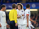 PSG's David Luiz shares a joke with referee Felix Brych<br /> <br /> - UEFA Champions League - Chelsea vs Paris Saint Germain - Stamford Bridge - London - England - 9th March 2016 - Pic David Klein/Sportimage