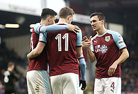 Burnley's Chris Wood celebrates with team-mates Dwight McNeil (left) and Jack Cork after scoring the winning goal from the penalty spot<br /> <br /> Photographer Rich Linley/CameraSport<br /> <br /> Emirates FA Cup Third Round - Burnley v Barnsley - Saturday 5th January 2019 - Turf Moor - Burnley<br />  <br /> World Copyright &copy; 2019 CameraSport. All rights reserved. 43 Linden Ave. Countesthorpe. Leicester. England. LE8 5PG - Tel: +44 (0) 116 277 4147 - admin@camerasport.com - www.camerasport.com