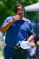Phil Mickelson (USA) reacts to sinking his 32' 10&quot; birdie putt on 9 during the round 1 of the Dean &amp; Deluca Invitational, at The Colonial, Ft. Worth, Texas, USA. 5/25/2017.<br /> Picture: Golffile | Ken Murray<br /> <br /> <br /> All photo usage must carry mandatory copyright credit (&copy; Golffile | Ken Murray)