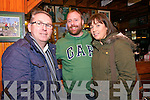 Paul O'Boyle with Patrick and Sandra Farrell from Dingle at the Paidí Ó Sé Deireadh Seachtaine Caide at Paidí's over the weekend.