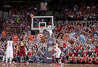 The Ohio State Buckeyes student section attempts to distract Minnesota Golden Gophers guard Malik Smith (30) as he shoots free throws during the second half of the NCAA men's basketball game between the Ohio State Buckeyes and the Minnesota Golden Gophers at Value City Arena in Columbus, Ohio, on Saturday, Feb. 22, 2014. The Buckeyes overcame a 10-point deficit at the half to defeat the Minnesota Golden Gophers 64-46. (Columbus Dispatch/Sam Greene)