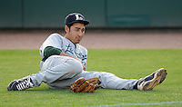 Infielder Jiovanni Mier (3) of the Lexington Legends, Houston's No. 1 pick in the 2009 draft, stretches on the field prior to a game against the Greenville Drive April 25, 2010, at Fluor Field at the West End in Greenville, S.C. Photo by: Tom Priddy/Four Seam Images