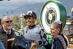 ARCADIA, CA  FEBRUARY 22: Abel Cedillo is all smiles after riding #11 Keeper Ofthe Stars to win  the Buena Vista Stakes (Grade ll) on February 22, 2020 at Santa Anita Park in Arcadia, CA.