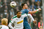 04.11.2018, Stadion im Borussia-Park, Moenchengladbach, GER, 1. FBL, Borussia Moenchengladbach vs. Fortuna Duesseldorf, DFL regulations prohibit any use of photographs as image sequences and/or quasi-video<br /> <br /> im Bild Kopfball / Kopfballduell Alassane Plea (#14, Borussia M?nchengladbach / Moenchengladbach)  Alfredo Morales (#6, Fortuna D&uuml;sseldorf / Duesseldorf) <br /> <br /> Foto &copy; nordphoto/Mauelshagen