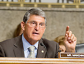 """United States Senator Joe Manchin (Democrat of West Virginia) questions the witnesses during testimony before the United States Senate Committee on Armed Services concerning """"Impacts of the Joint Comprehensive Plan of Action (JCPOA) on U.S. Interests and the Military Balance in the Middle East"""" on Capitol Hill on Wednesday, July 29, 2015.<br /> Credit: Ron Sachs / CNP"""