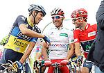 Alberto Contador (l), Joaquin Purito Rodriguez (c) and Alejandro Valverde during the stage of La Vuelta 2012 between Barakaldo and Valdezcaray.August 21,2012. (ALTERPHOTOS/Acero)