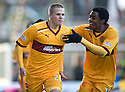 MOTHERWELL'S HENRIK OJAMAA CELEBRATES WITH OMAR DALEY AFTER HE SCORES MOTHERWELL'S FIRST GOAL
