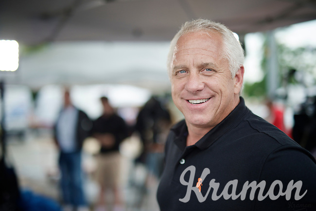 Legendary Tour winner Greg LeMond (USA) as commentator for Eurosport at the finish line of  stage 19.<br /> <br /> 2014 Tour de France<br /> stage 19: Maubourguet - Bergerac (208km)
