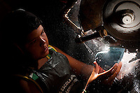 Venda Nova do Imigrante_ES, Brasil...Centro de artesanato em marmore. Na foto garoto fazendo artesanato...Crafts Center in marble. In the photo a boy making crafts...Foto: LEO DRUMOND / NITRO