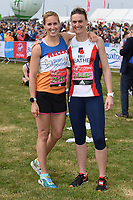 Helen Glover &amp; Heather Stanning at the start of the 2017 London Marathon on Blackheath Common, London, UK. <br /> 23 April  2017<br /> Picture: Steve Vas/Featureflash/SilverHub 0208 004 5359 sales@silverhubmedia.com