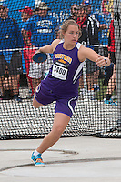 Brentwood High School junior Sophia Rivera gets ready to throw the discus on her way to a seventh-place finish in the event with a best throw of 137-00 at the 2015 Kansas Relays.