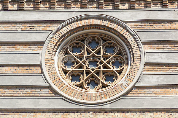 Round window on front of Saint Peter and Saint Paul the Apostles Cathedral, Constanta, Romania   June 2015<br /> CAP/MEL<br /> &copy;MEL/Capital Pictures /MediaPunch ***NORTH AND SOUTH AMERICA ONLY***
