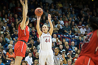 SPOKANE, WA - MARCH 30, 2013: Joslyn Tinkle drains a crucial three during the third round NCAA Championships game matching Stanford vs Georgia at the Spokane Arena. The Cardinal fell to the Bulldogs 61-59.