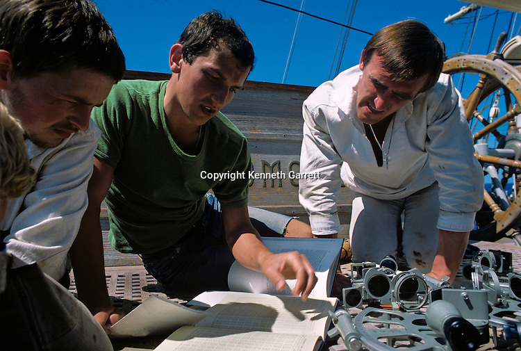 Sailors navigates with traditional sextant, Square Rigger; Sail race, Operation Sail Tall Ships; Sail Training Association; US Bicentennial; Atlantic Ocean; adventure; STA, 1976, Seamanship, cadet training