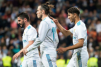 "Real Madrid Achraf Hakimi, Gareth Bale and Francisco Roman ""Isco"" celebrating a goal during La Liga match between Real Madrid and Celta de Vigo at Santiago Bernabeu Stadium in Madrid, Spain. May 12, 2018. (ALTERPHOTOS/Borja B.Hojas) /NORTEPHOTOMEXICO"