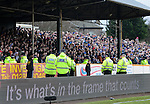 Police watch the Rangers fans during the game