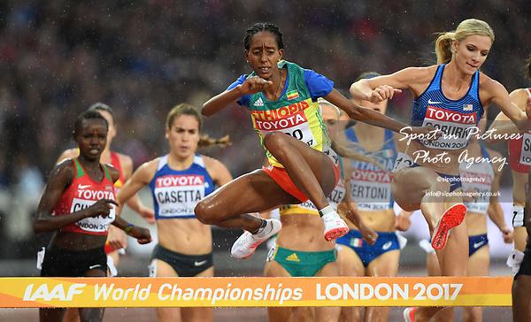 Etenesh DIRO (ETH) in the womens 3000m steeplechase heats. IAAF world athletics championships. London Olympic stadium. Queen Elizabeth Olympic park. Stratford. London. UK. 09/08/2017. ~ MANDATORY CREDIT Garry Bowden/SIPPA - NO UNAUTHORISED USE - +44 7837 394578