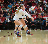 STANFORD, CA - October 12, 2018: Meghan McClure at Maples Pavilion. No. 2 Stanford Cardinal swept No. 21 Washington State Cougars, 25-15, 30-28, 25-12.