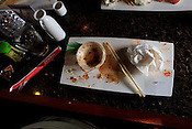 A vanquished plate, Sushi Challenge at Kanki Japanese House of Steaks and Sushi, Durham, NC, March 19, 2012.