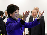 December 21, 2016, Tokyo, Japan - Tokyo Governor Yuriko Koike leaves the meeting of the four-party working group, Tokyo metropolitan government, IOC, Tokyo 2020 Olympics organising committee and Japanese government in Tokyo on Wednesday, December 21, 2016.  Tokyo 2020 Organising Committee estimated total cost of 1.6 to 1.8 trillion yen for the Olympic and Paralympic games.  (Photo by Yoshio Tsunoda/AFLO) LWX -ytd-
