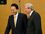 "Australian Prime Minister Kevin Rudd and his Japanese counterpart Yukio Hatoyama arrive for a ceremony to launch a report ""Eliminating nuclear threats: a practical agenda for global policymakers"" at the Japanese prime minister's office in Tokyo, Japan on Tuesday Dec. 15 2009..Photographer: Robert Gilhooly.."