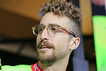 Taylor Phinney (USA) Cannondale-Drapac team on stage at the Team Presentation in Burgplatz Dusseldorf before the 104th edition of the Tour de France 2017, Dusseldorf, Germany. 29th June 2017.<br /> Picture: Eoin Clarke | Cyclefile<br /> <br /> <br /> All photos usage must carry mandatory copyright credit (&copy; Cyclefile | Eoin Clarke)