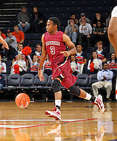 Nov 6, 2010; Charlottesville, VA, USA; Roanoke College g Corey Poindexter (3) dribbles the ball Saturday afternoon in exhibition action at John Paul Jones Arena. The Virginia men's basketball team recorded an 82-50 victory over Roanoke College.