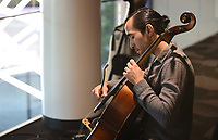 Musician Christian Serrano plays the cello Wednesday, July 29, 2020, for donors during a Red Cross Blood Drive hosted by the Walton Arts Center in Fayetteville. Music over the two day blood drive included recorded performances from VoiceJam and the Artosphere Festival Orchestra, singer/songwriter Candy Lee, Beth Stockdell, Miho Sakon, Tomoko Kashiwagi and Serrano. The American Red Cross is now testing all blood, platelet and plasma donations for covid-19 antibodies, which can provide donors insight into whether they may have been exposed to this coronavirus, regardless of whether they developed symptoms. Check out nwaonline.com/200730Daily/ and nwadg.com/photos for a photo gallery.<br /> (NWA Democrat-Gazette/David Gottschalk)