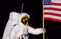 Astronaut Niel Armstrong on the moon in smithsonean museum in Washington DC, USA