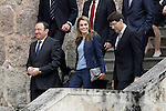 Princess Letizia of Spain with the President of La Rioja Pedro Sanz (l) visit the villages of Haro and San Millan de la Cogolla.May 14,2013. (ALTERPHOTOS/Acero)