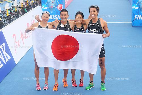 Japan team group (JPN), <br /> SEPTEMBER 26, 2014 - Triathlon : <br /> Mixed Relay <br /> at Songdo Central Park Triathlon Venue <br /> during the 2014 Incheon Asian Games in Incheon, South Korea. <br /> (Photo by Yohei Osada/AFLO SPORT)