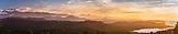 NEW ZEALAND, Okarito, Panorama of the Southern Alps to the Tasman Sea from the Okarito Trig, Ben M Thomas
