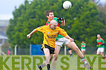 Ger McCarthy of Listowel tackles with Padraig Murphy of Beal last Saturday in The Bernard O'Callaghan Memorial Senior Football Championship Semi Final in O'Rahilly Park, Ballylongford..