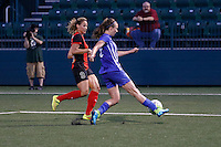 Rochester, NY - Friday May 27, 2016: Boston Breakers defender Julie King (8) and Western New York Flash forward Lynn Williams (9). The Western New York Flash defeated the Boston Breakers 4-0 during a regular season National Women's Soccer League (NWSL) match at Rochester Rhinos Stadium.
