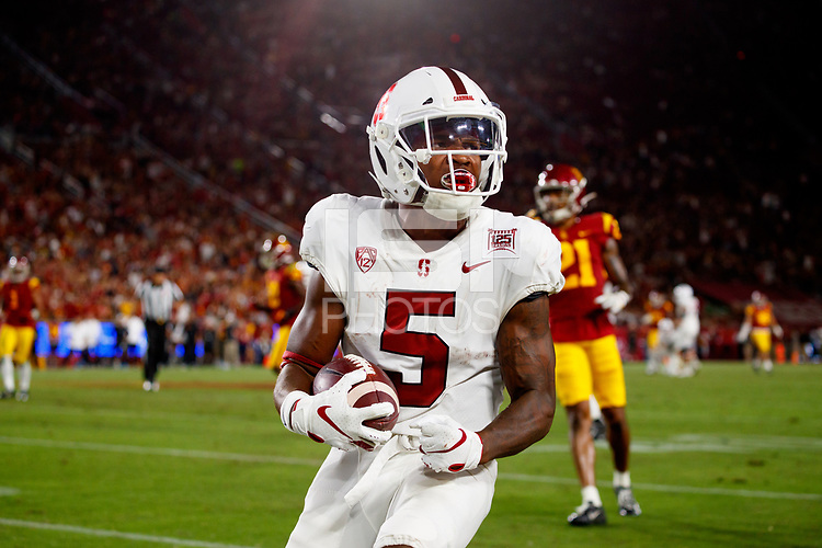 LOS ANGELES, CA - SEPTEMBER 8: Stanford Cardinal wide receiver Connor Wedington #5 celebrates after a pass reception during a game between USC and Stanford Football at Los Angeles Memorial Coliseum on September 7, 2019 in Los Angeles, California.