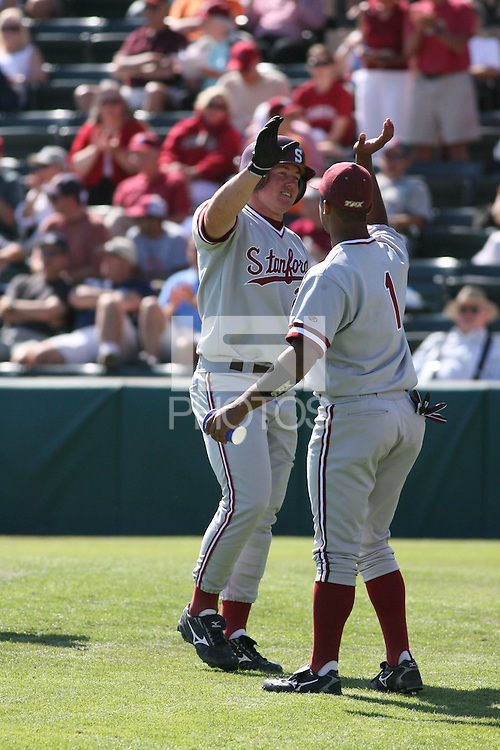 1 June 2008: Stanford Cardinal Toby Gerhart (left) and Jeff Whitlow (1) during Stanford's 8-4 win against the UC Davis Aggies in game 5 of the NCAA Stanford Regional at Sunken Diamond in Stanford, CA.