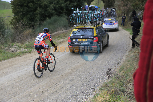 Iuri Filosi (ITA) Nippo-Vini Fantini on gravel sector 6 Pieve a Salti during the 2017 Strade Bianche running 175km from Siena to Siena, Tuscany, Italy 4th March 2017.<br /> Picture: Eoin Clarke | Newsfile<br /> <br /> <br /> All photos usage must carry mandatory copyright credit (&copy; Newsfile | Eoin Clarke)