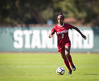 STANFORD, CA - October 21, 2018: Naomi Girma at Laird Q. Cagan Stadium. No. 1 Stanford Cardinal defeated No. 15 Colorado Buffaloes 7-0 on Senior Day.