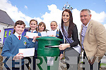 LETTERS: Children from Balloonagh primary school have written letters to send across the world as part of The Gathering. Pictured on Friday were Ciara O'Connor, Róisín and Conor Harte, Samantha Wadding, Rose of Tralee Nicola Furlong and Oliver Hurley.