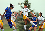 BROOKINGS, SD - AUGUST 22: Alyssa Brazil #15 from South Dakota State battles for the ball with Madelyn Buckner #16 from Creighton in the first half of their game Friday night in Brookings. (Photo by Dave Eggen/Inertia)