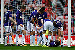 Clayton Donaldson of Sheffield Utd is injured after celebrating scoring the second goal during the Championship match at the Stadium of Light, Sunderland. Picture date 9th September 2017. Picture credit should read: Simon Bellis/Sportimage