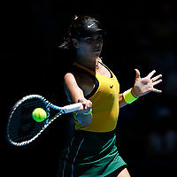 9th November 2019; RAC Arena, Perth, Western Australia, Australia; Fed Cup by BNP Paribas Tennis Final, Day 1, Australia versus France; Ajla Tomljanovic of Australia plays a forehand shot against Kristina Mladenivic of France
