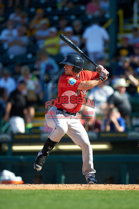 Boston Red Sox left fielder Cole Sturgeon (41) at bat during a Spring Training game against the Pittsburgh Pirates on March 9, 2016 at McKechnie Field in Bradenton, Florida.  Boston defeated Pittsburgh 6-2.  (Mike Janes/Four Seam Images)