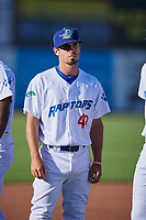 Luke Heyer (43) of the Ogden Raptors before the game against the Orem Owlz at Lindquist Field on June 19, 2018 in Ogden, Utah. The Raptors defeated the Owlz 7-2. (Stephen Smith/Four Seam Images)