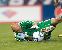 New England Revolution goalkeeper Matt Reis (1) struggles to prevent a rebound. The New England Revolution defeated LA Galaxy, 2-0, at Gillette Stadium on July 10, 2010.