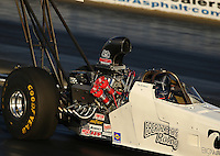 Feb 11, 2016; Pomona, CA, USA; NHRA top alcohol dragster driver Don St. Arnaud during qualifying for the Winternationals at Auto Club Raceway at Pomona. Mandatory Credit: Mark J. Rebilas-USA TODAY Sports